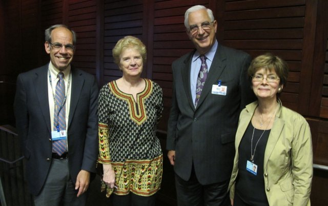 L to R: Panelists Leonard Rubenstein and Martha Davis with Dr. Edward D. Miller, CEO of Johns Hopkins Medicine and Dr. Ruth Faden, Director of Berman Institute of Bioethics.