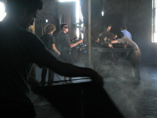 New York studio crew filming demonstration of forced feeding.