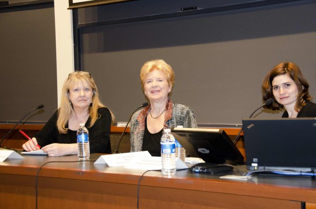Trudy Bond, Martha Davis and Deborah Popowski, panelists of the Harvard Law School Screening.