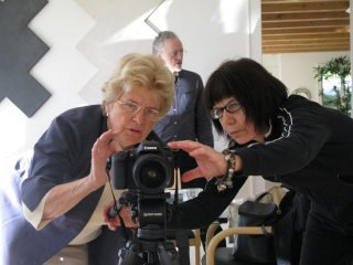 Director Martha Davis (left) with Director of Photography Lisa Rinzler and Sound Engineer Orin Buck in background